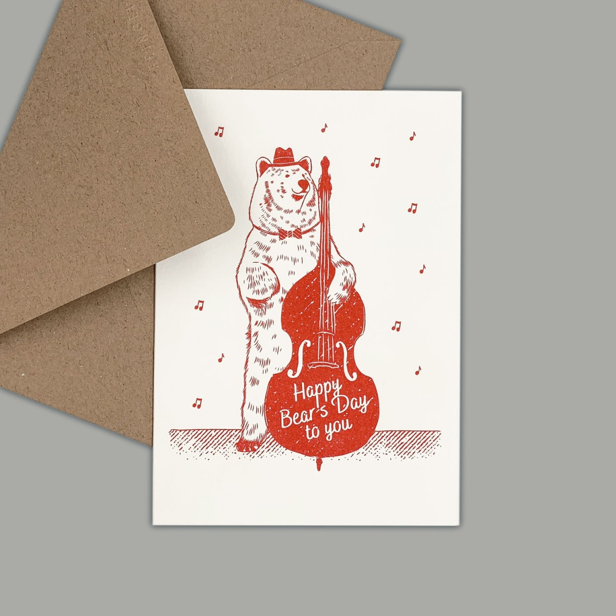 Feingeladen // LOVELY BEASTS // Bear »Happy Bear's Day to you« (CR) // RISO-Klappkarte, A6