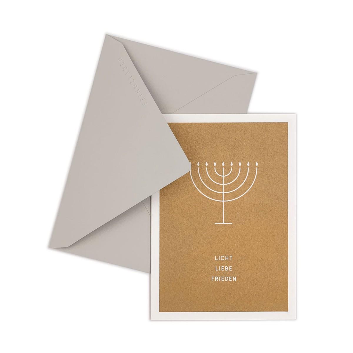 Feingeladen // SIMPLY DIVINE // Hanukkah »Licht Liebe Frieden« (GD) // RISO-Klappkarte, A6