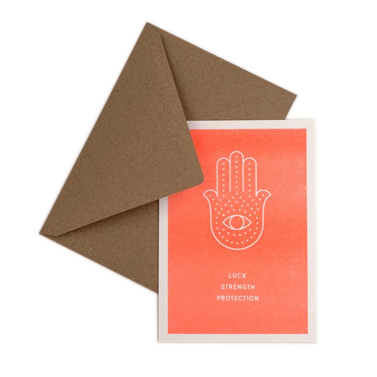 Feingeladen // SIMPLY DIVINE // Hamsa Hand »Luck Strength Protection« (FO) // RISO-Klappkarte, A6