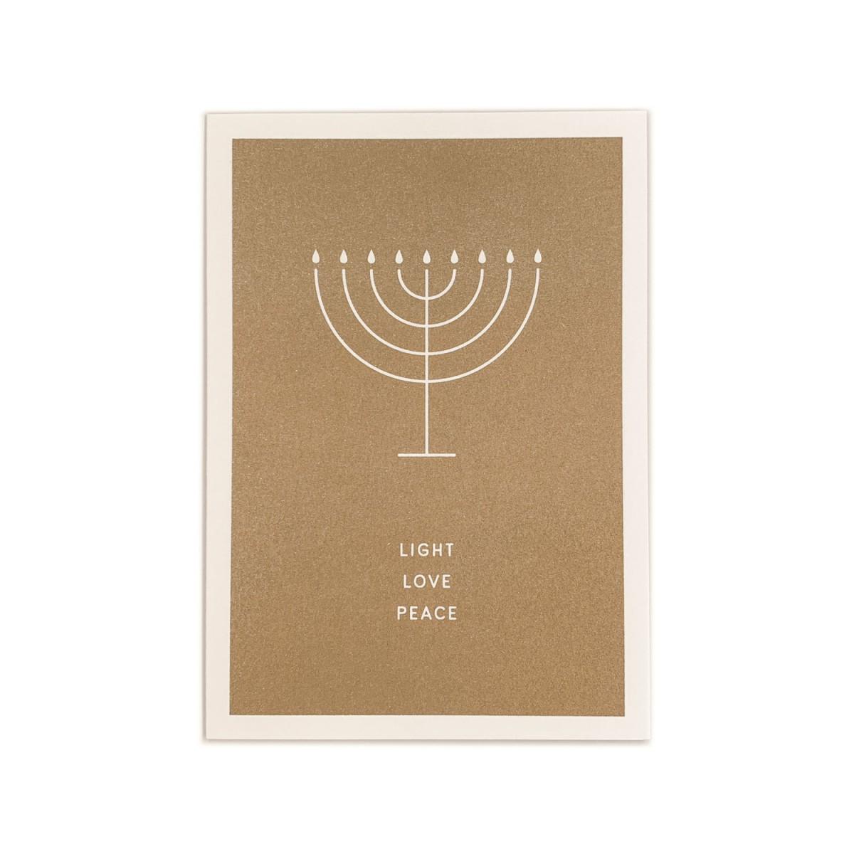 Feingeladen // SIMPLY DIVINE // Hanukkah »Light Love Peace« (GD), RISO-Klappkarte, A6