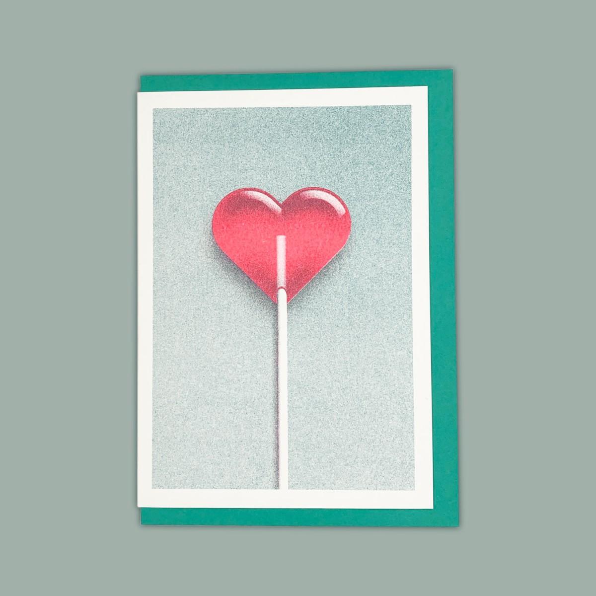 Feingeladen // GOOD TIMES // Heart Lollipop (TLFR) // RISO-Klappkarte, A6