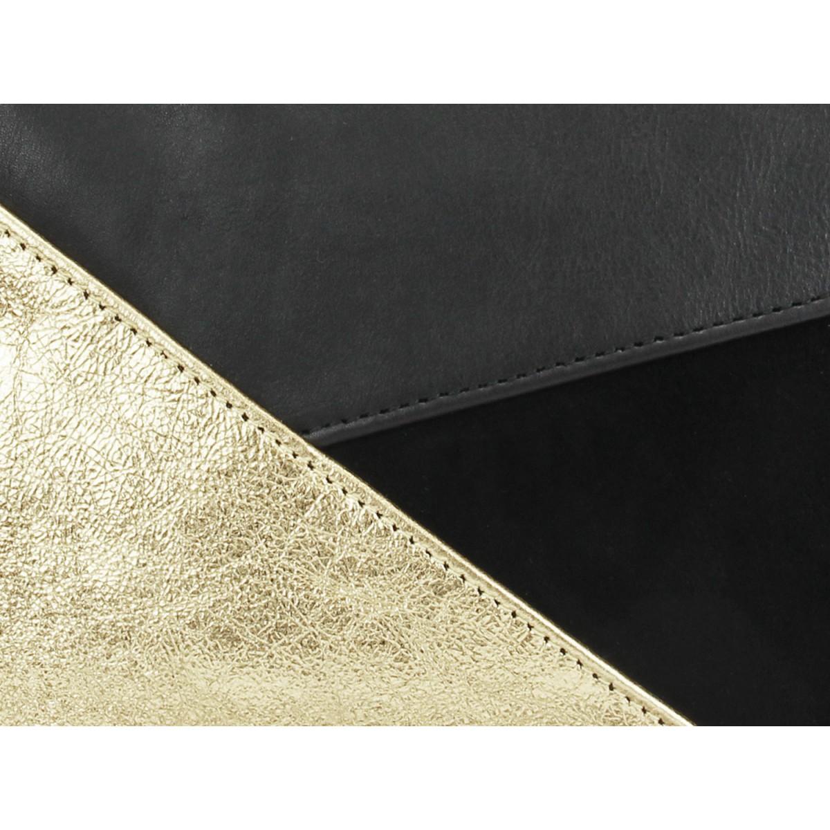 lille mus Geo-Umhängeclutch GESINCHEN - Schwarz/Gold aus Leder mit Umhängeriemen