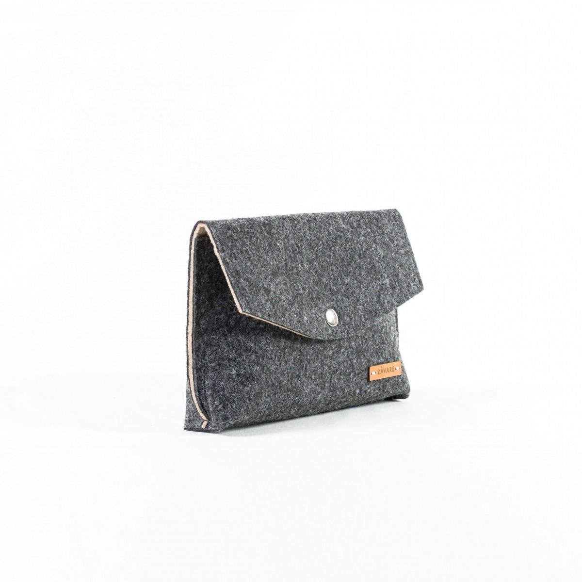 RÅVARE Schicke Umhängetasche mit 2 Tragemöglichkeiten, Clutch & Gürteltasche, kleine Handtasche, Abendtasche in grau-beige [GJOKO]