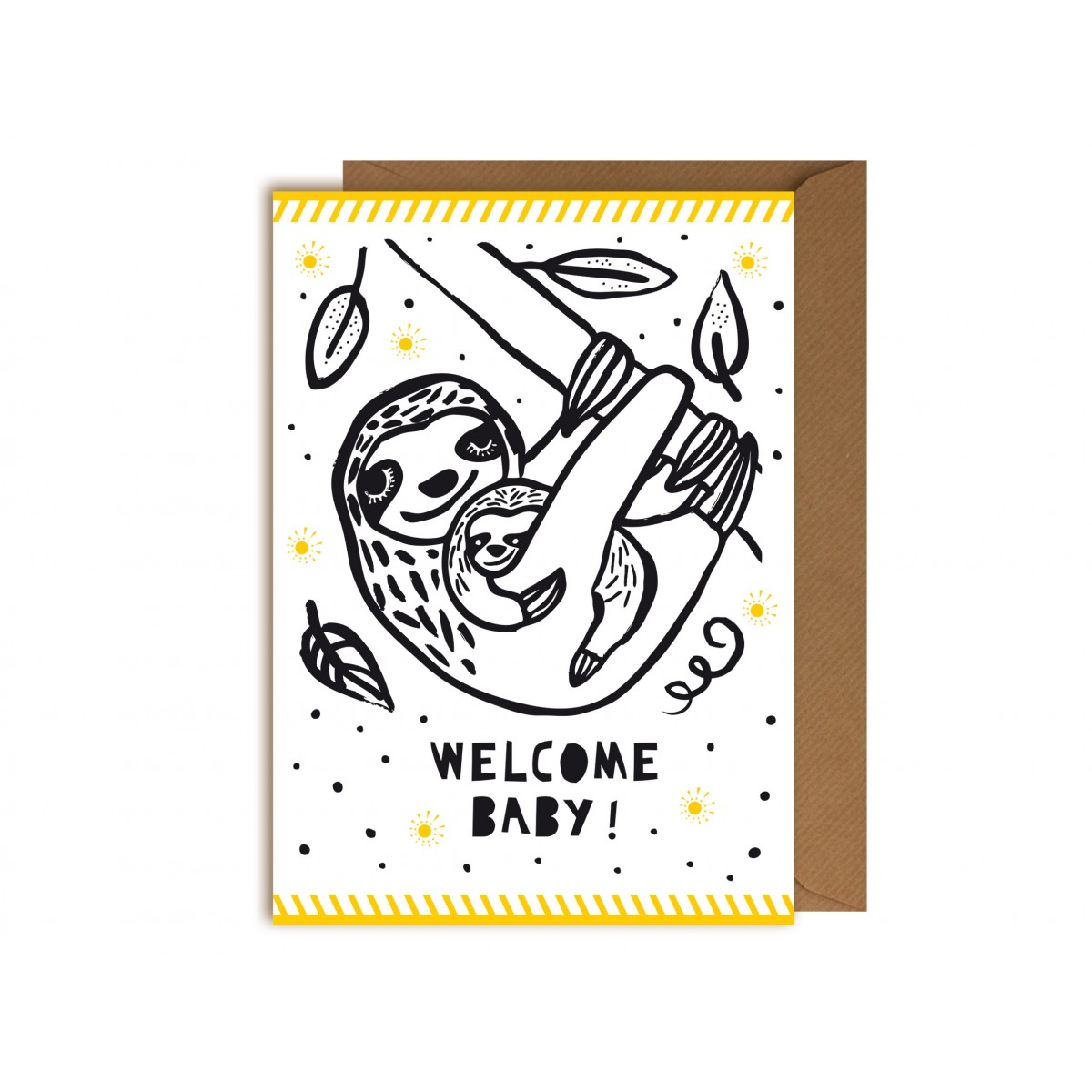 "Perunoto Glückwunschkarte Faultier ""Welcome Baby"""
