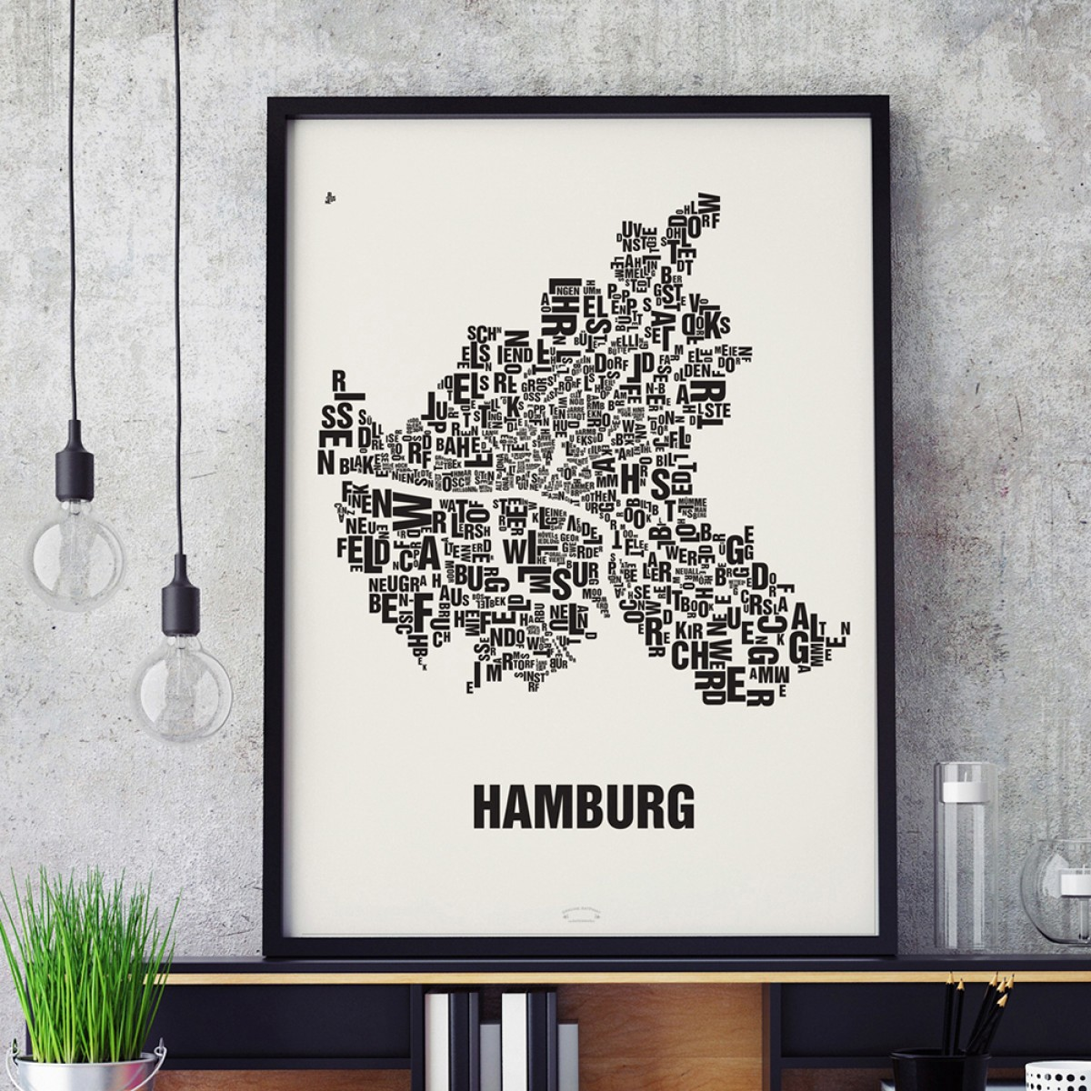 Buchstabenort Hamburg Poster Typografie Siebdruck