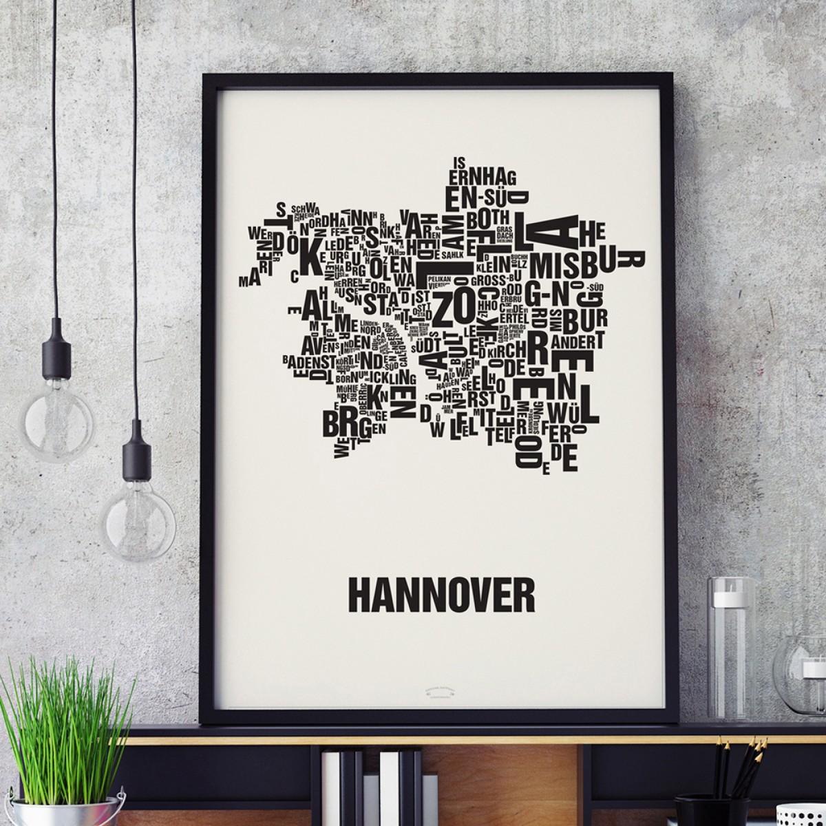 Buchstabenort Hannover Stadtteile-Poster Typografie Siebdruck