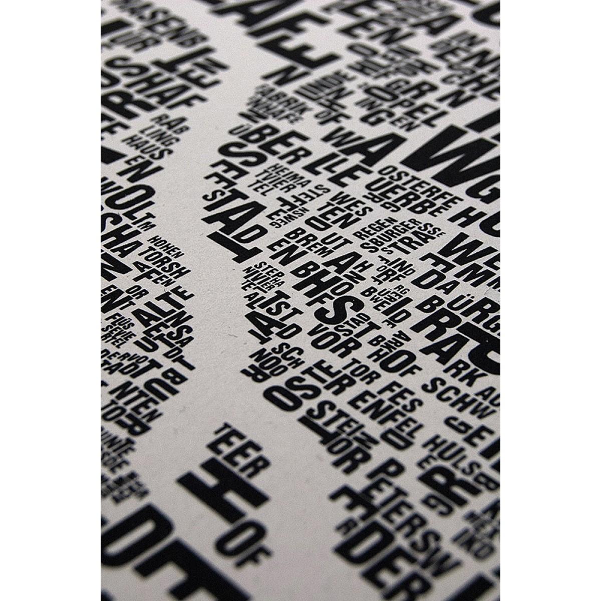 Buchstabenort Bremen Stadtteile-Poster Typografie