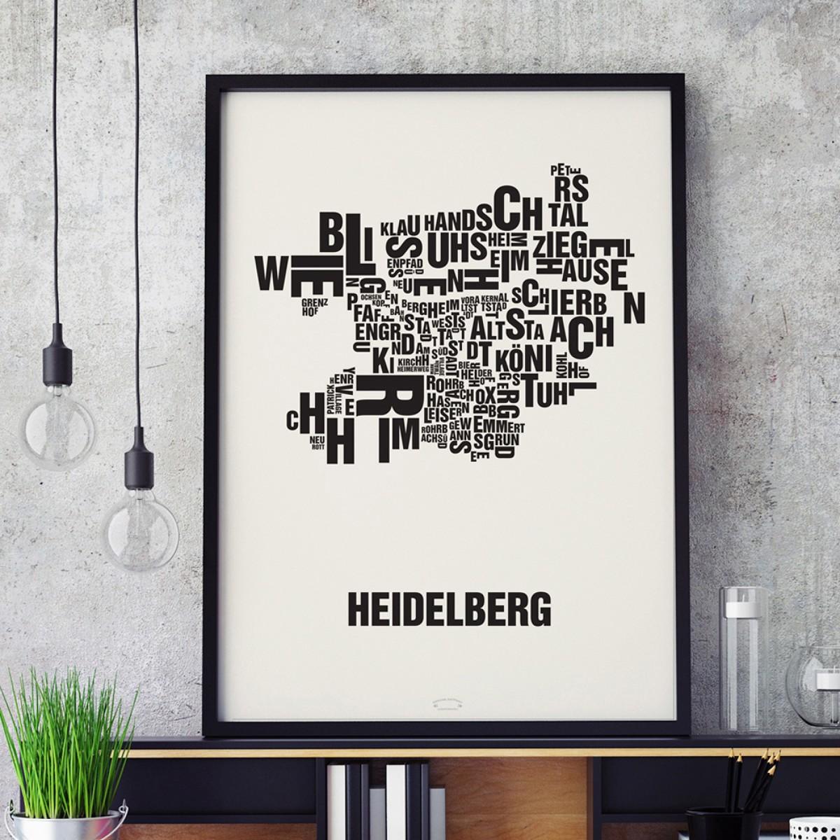 Buchstabenort Heidelberg Stadtteile-Poster Typografie Siebdruck