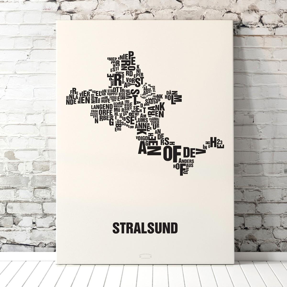 Buchstabenort STRALSUND Poster Typografie Siebdruck
