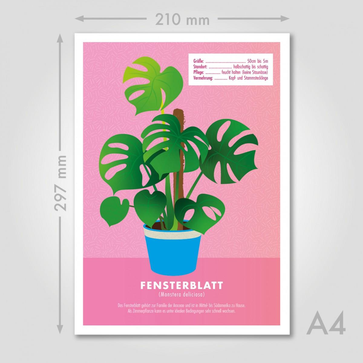 "Hey Urban Monkey - A4 Poster - ""Monstera"""