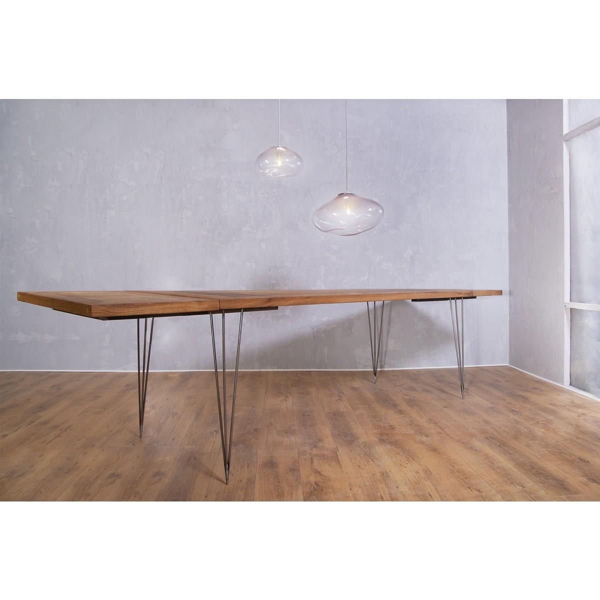 FraaiBerlin Esstisch aus Altholz Eiche & Eisen Vrolijk 210 x 90 cm mit 2 Ansteckplatten à 50cm