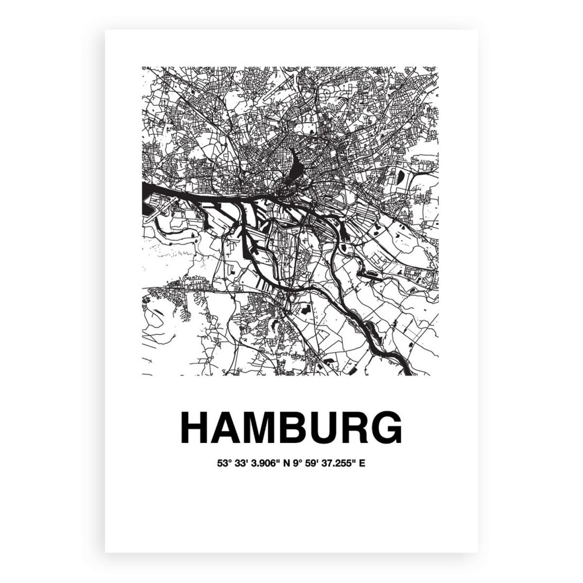 Stadtliebe® | Hamburg Karte black&white A3