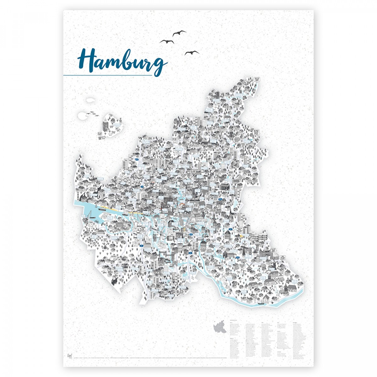 Rapü Design Hamburg Poster |  70 x 100 cm  |  optional mit passender Leiste