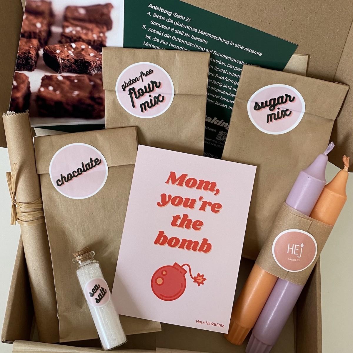 Hej Candles x Muttertags-Backbox  mit Dip Dye Kerzen