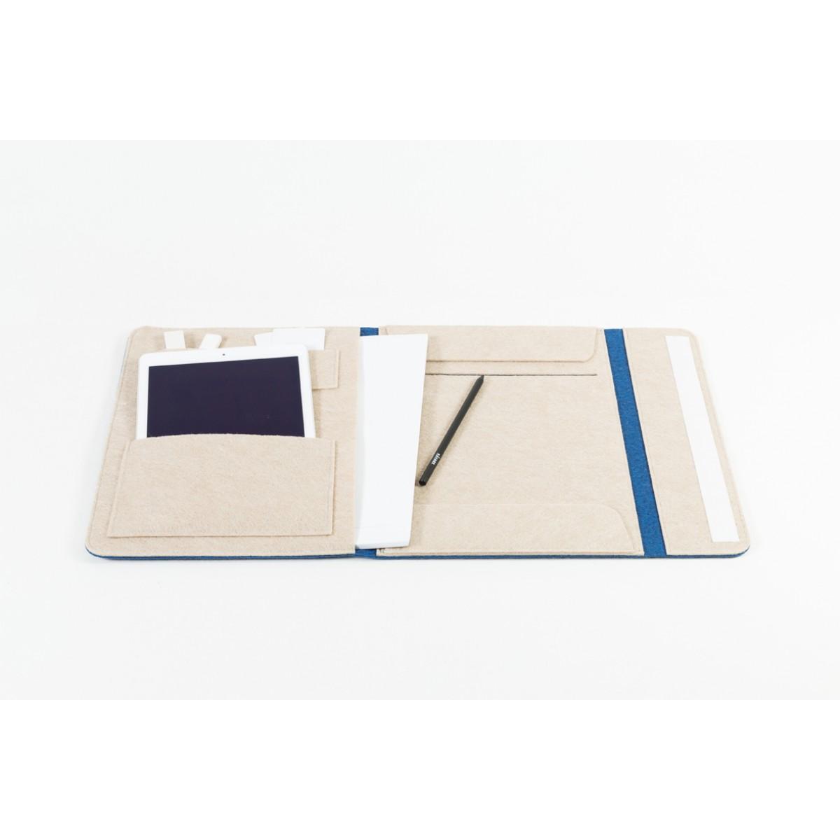 RÅVARE Dokumententasche Dokumentenmappe für A4-Dokumente und Tablet ≤12.3″ in blau-beige [HELLA]