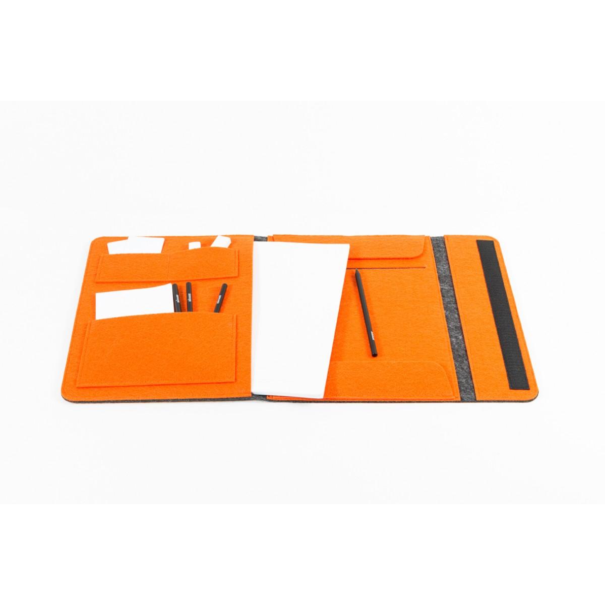 RÅVARE Dokumententasche Dokumentenmappe für A4-Dokumente und Tablet ≤12.3″ in grau-orange [HELLA]