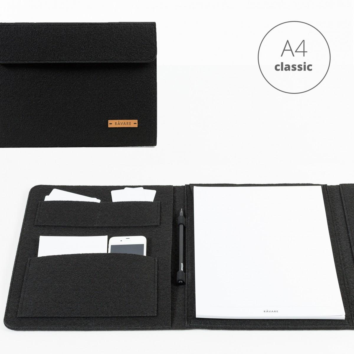 RÅVARE Dokumententasche Dokumentenmappe für A4-Dokumente und Tablet ≤12.3″ in schwarz [HELLA]