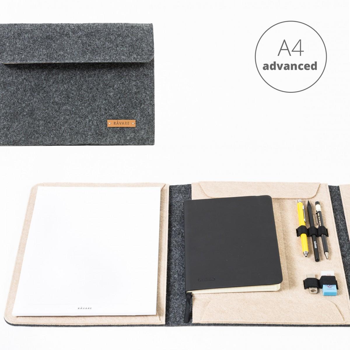 RÅVARE Dokumentenmappe für A4-Dokumente, Kalender, Planer und Tablet ≤12.3″ in grau-beige [HENNE]