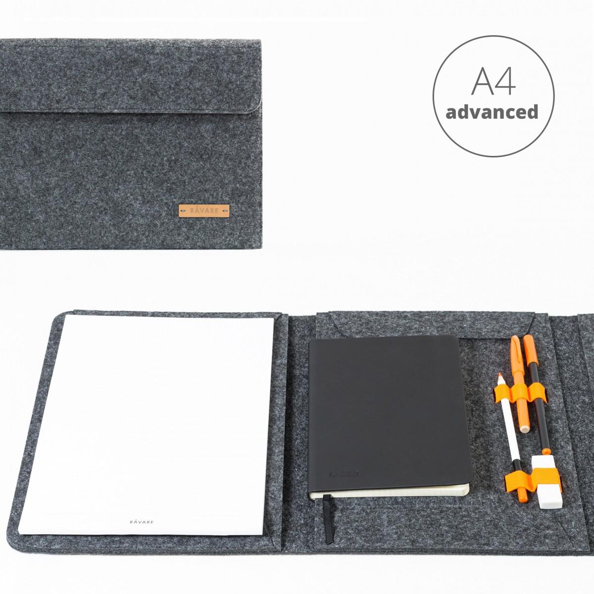RÅVARE Dokumentenmappe für A4-Dokumente, Kalender, Planer und Tablet ≤12.3″ in grau [HENNE]