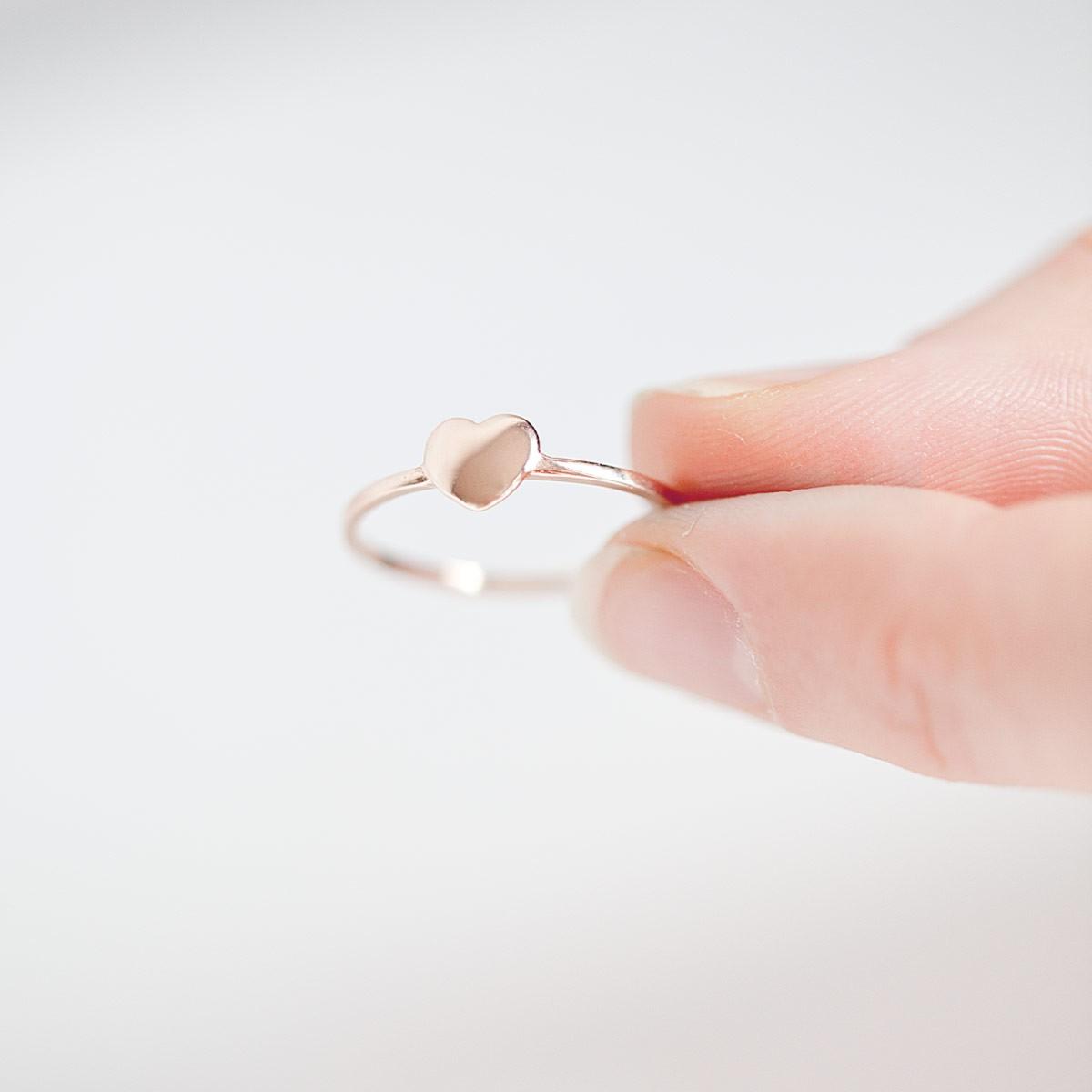 Herz Ring ll aus recyceltem 925er Sterlingsilber, rosévergoldet inkl. Box