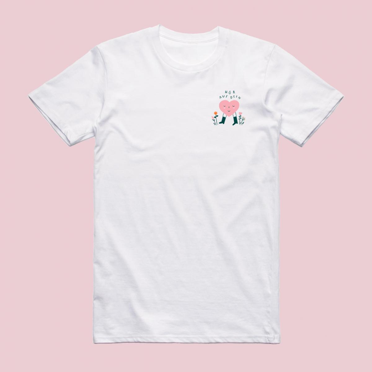 """Notietzblock Tshirt """"Hör auf dein Herz"""" kleines Print"""