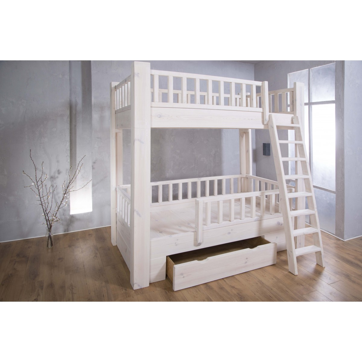 FraaiBerlin - Bauholz Hochbett für Kinder White wash - 201 x 209,5 cm x 121 cm