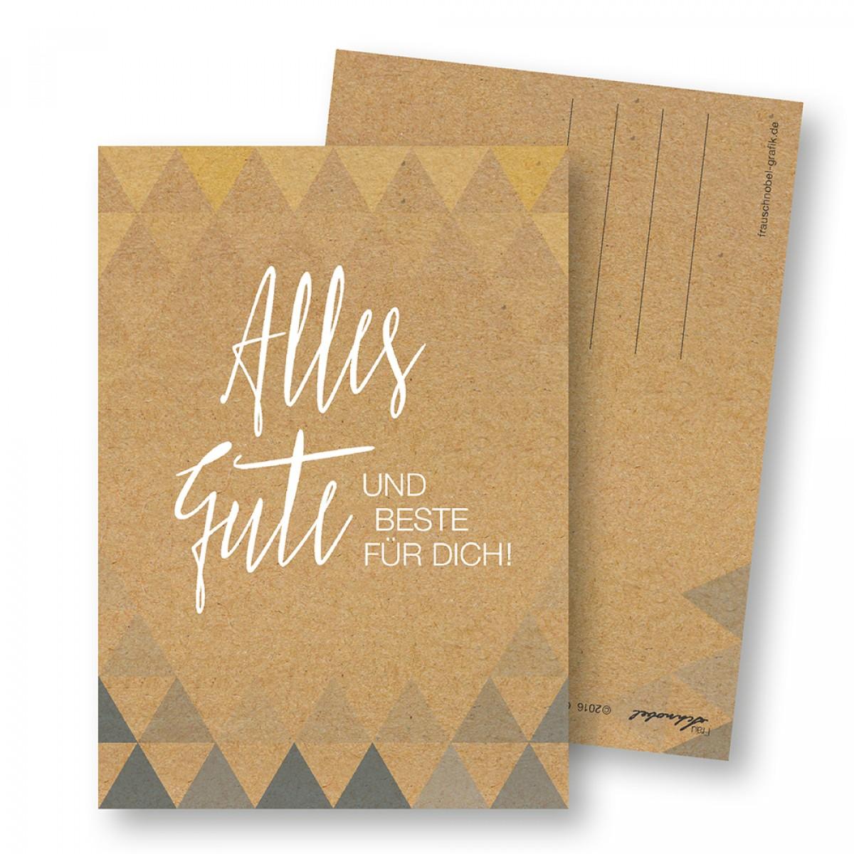 """Frau Schnobel Grafik  Postkarte GEO 1 """"Alles Gute"""" (4er)"""