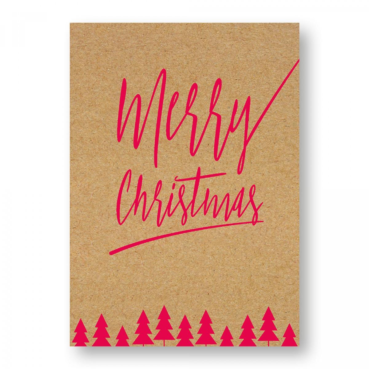 "Frau Schnobel Grafik Weihnachtskarten ""Merry Christmas – D"" 4er Set"