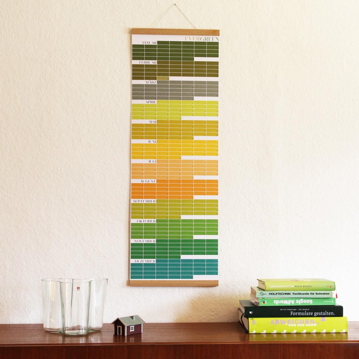 EVERGREEN – Immerwährender Kalender | Geburtstagskalender | Ewiger Kalender | Wandkalender