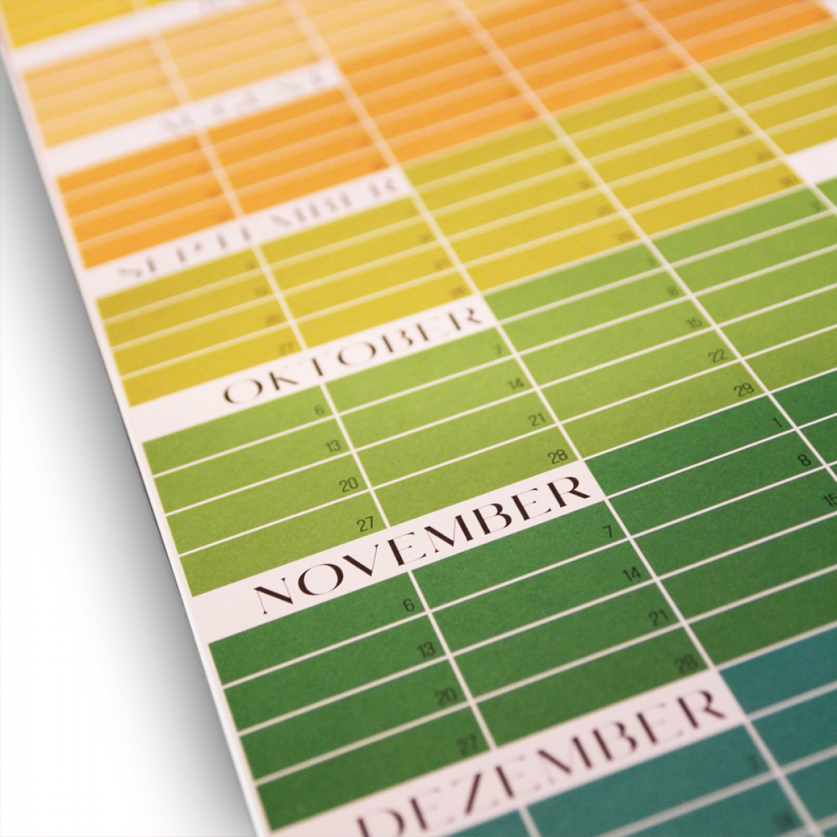 EVERGREEN – Immerwährender Kalender | Ewiger Kalender | Wandplaner | Grün-Gelb