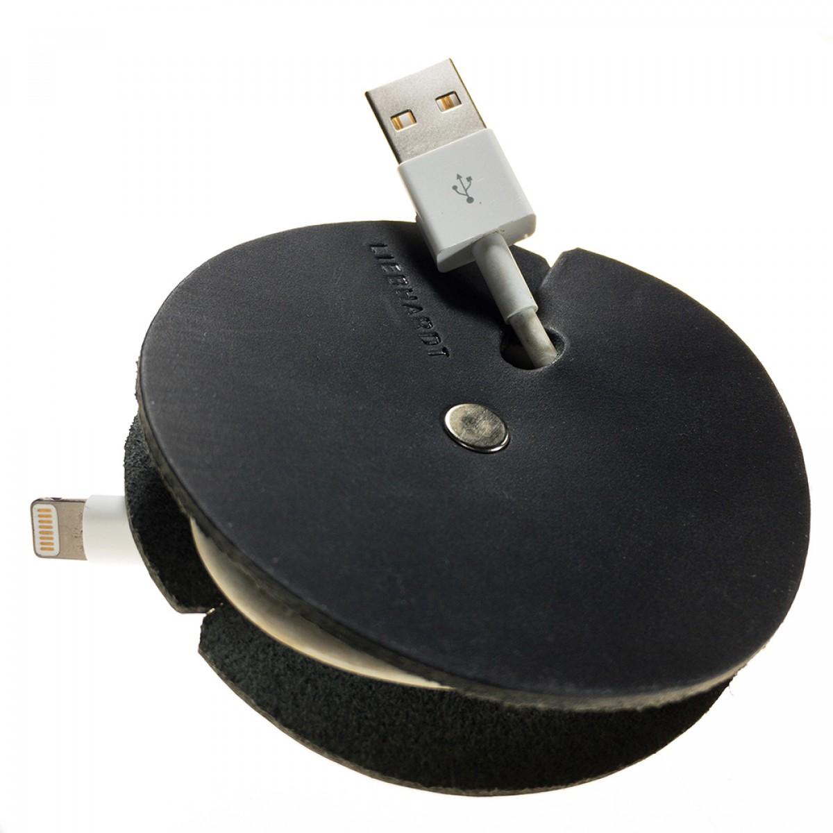LIEBHARDT - Leder Kabelbinder als Kabelhalter aus pflanzlich gegerbtem Echtleder, Kabelaufwickler für Ladekabel oder Headset (schwarz)