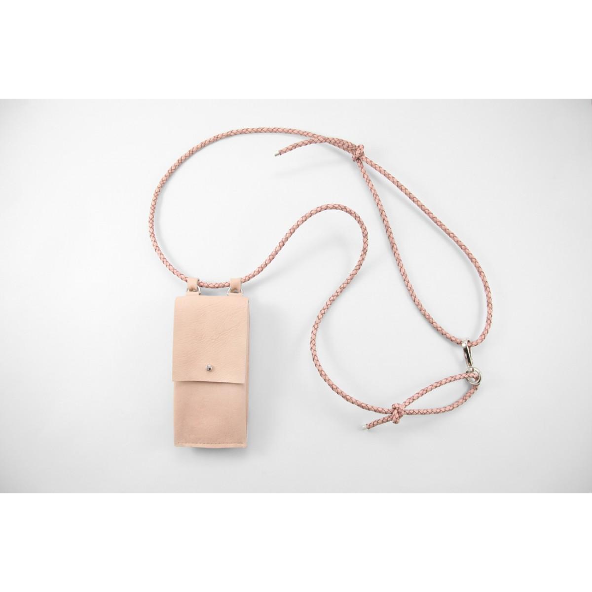Lapàporter – iPhone case zum Umhängen mit geflochtener Lederkordel und abnehmbarer Tasche, Rosé/silber