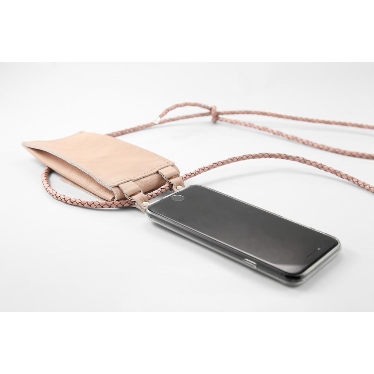 iPhone case zum umhängen mit geflochtener Lederkordel und abnehmbarer Tasche, Rosé/silber