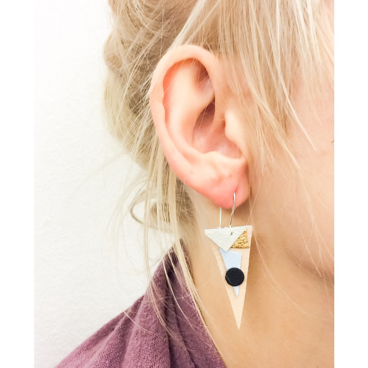 "vegan ""leather"" earring"
