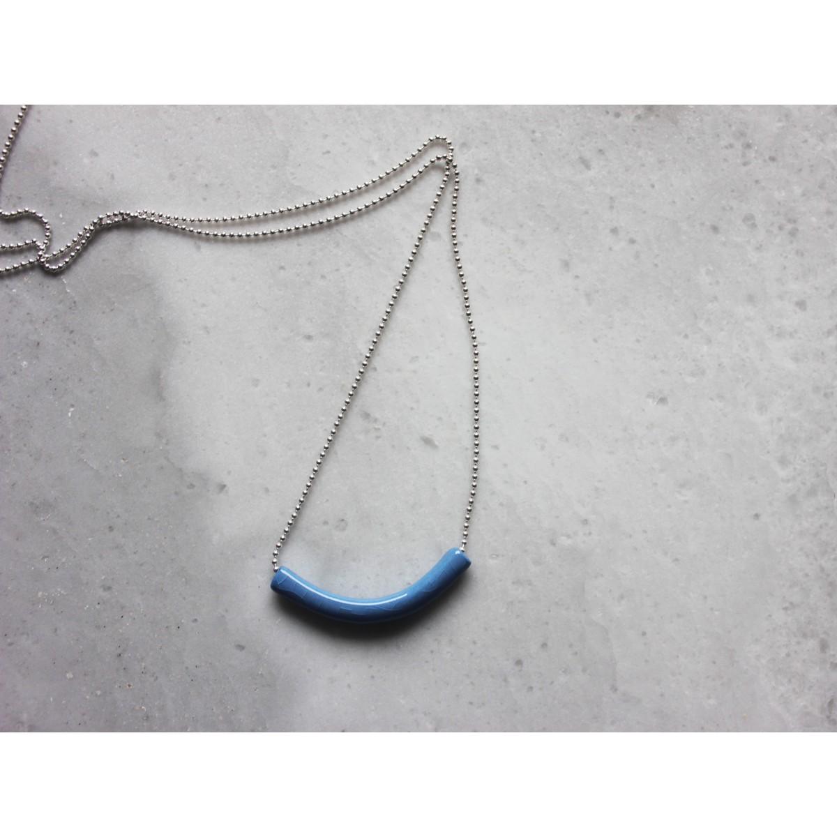 Skelini - Kobalt blau Porzellananhänger an einer Silberkette