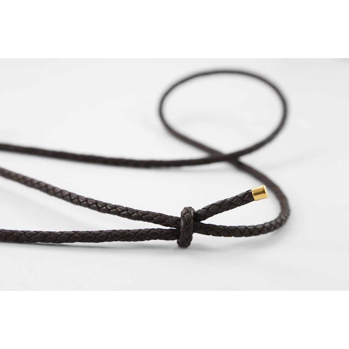 iPhone case zum umhängen mit geflochtener Lederkordel und abnehmbarer Tasche, dunkelbraun/gold
