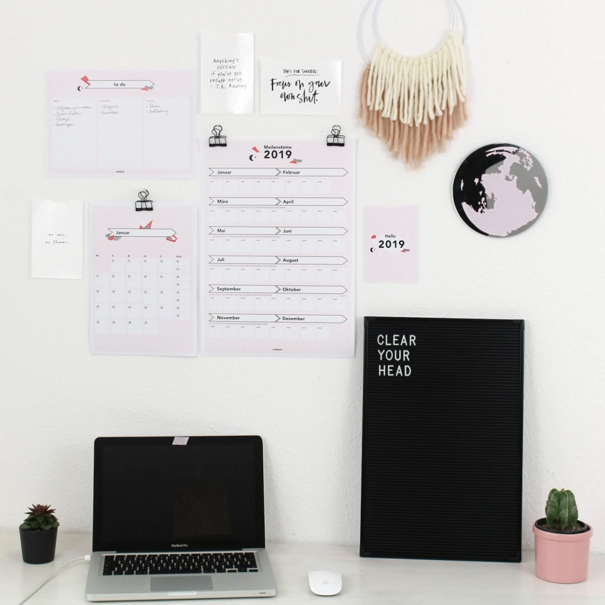Meilensteine-Kalender 2019 Hochformat