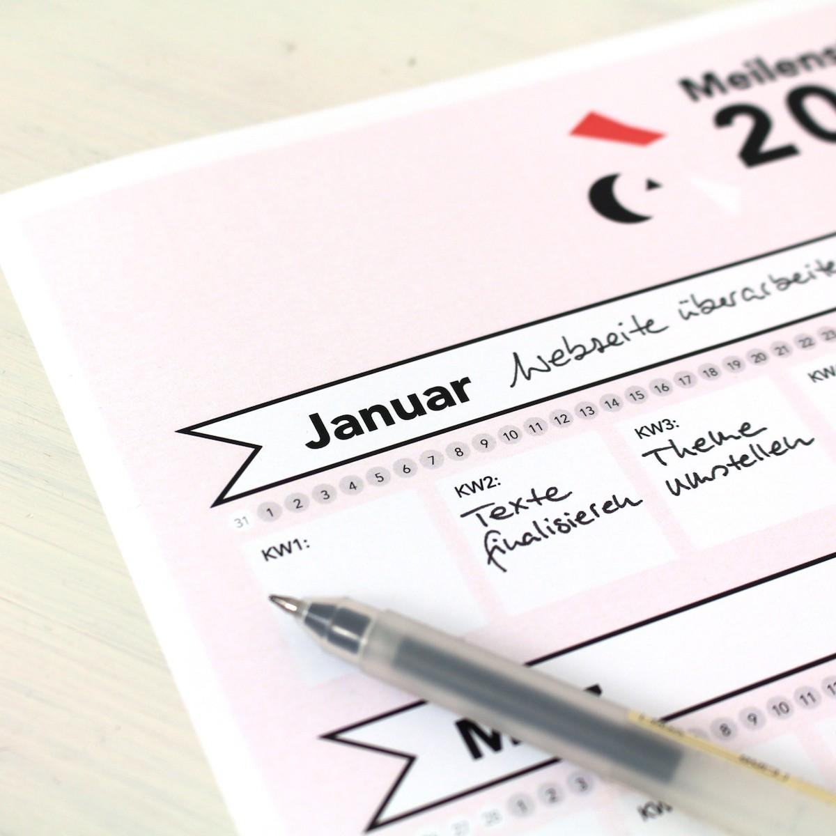 Meilensteine-Kalender 2019 Querformat