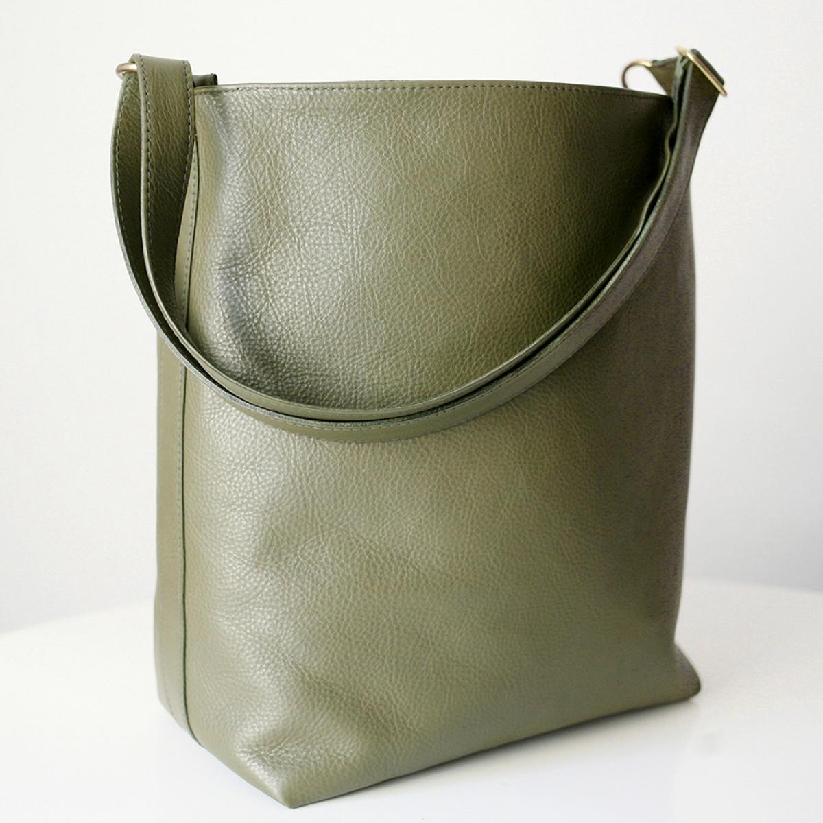 alexbender Hobo Bag echt Leder Oliv