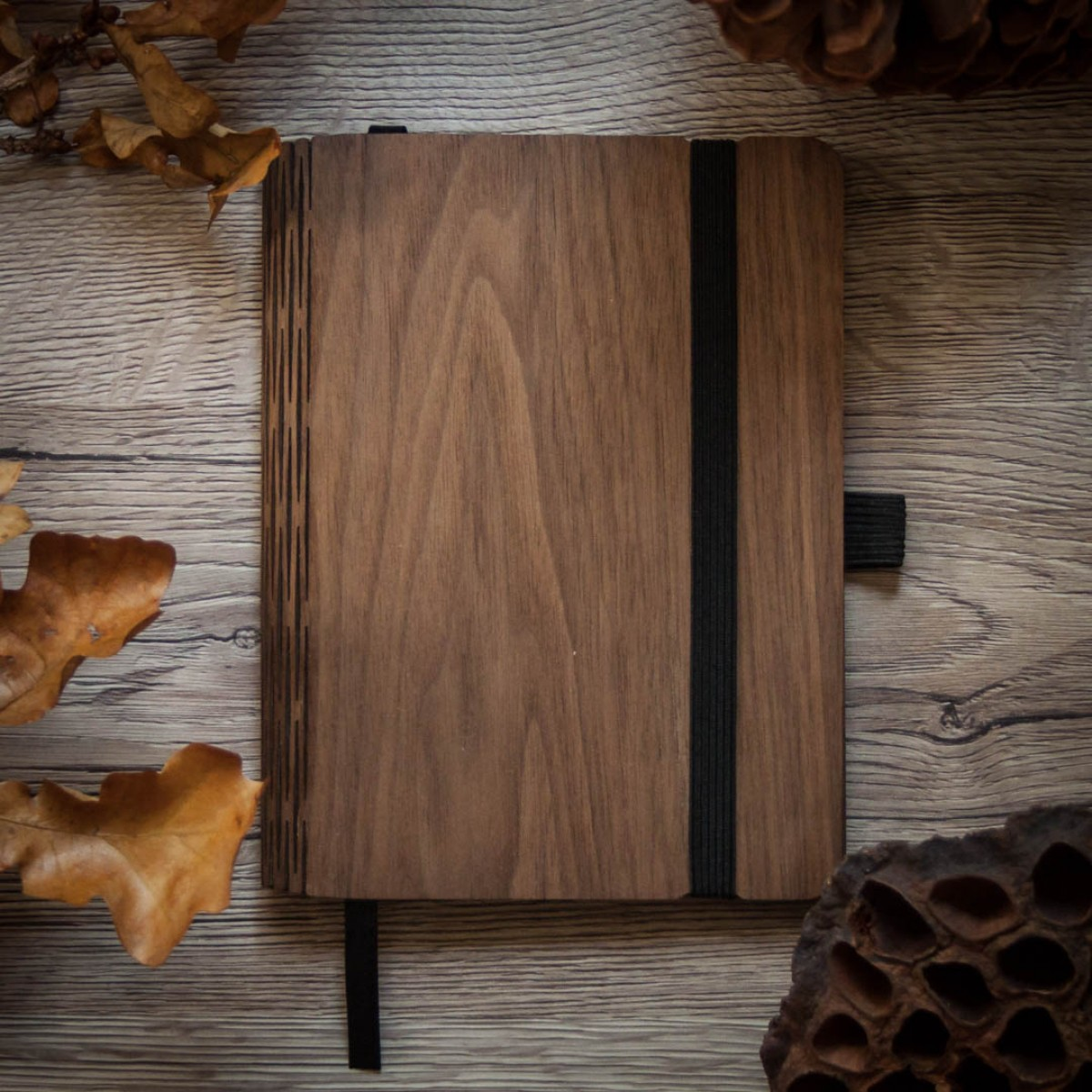 JUNGHOLZ Design Notizbuch, WoodBook, Walnuss, A6