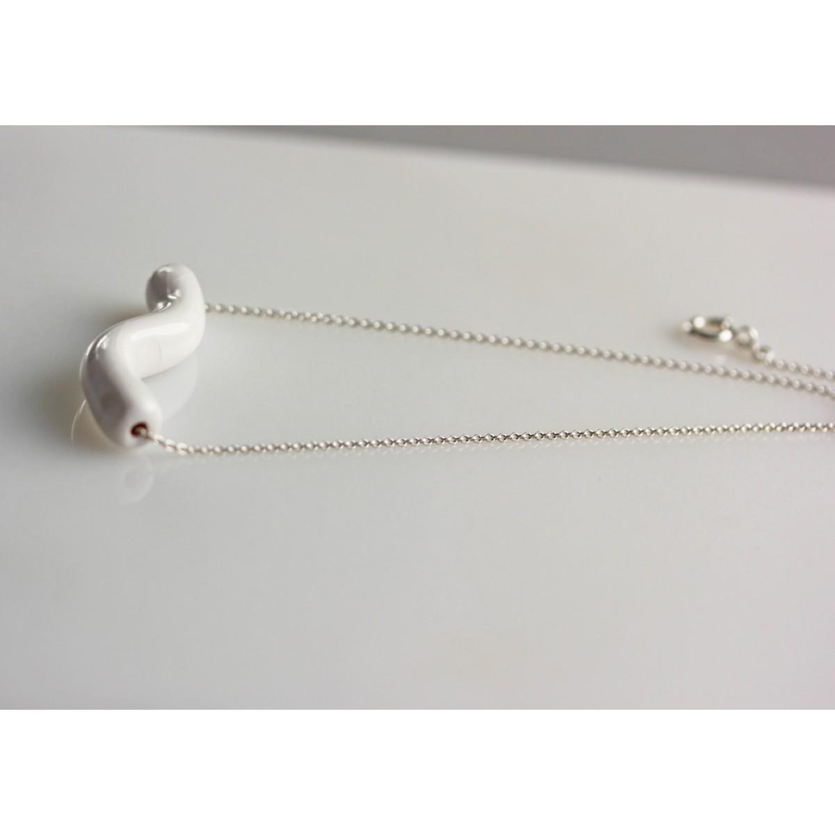 Skelini - Handgemachte Porzellan Kette weiß Welle