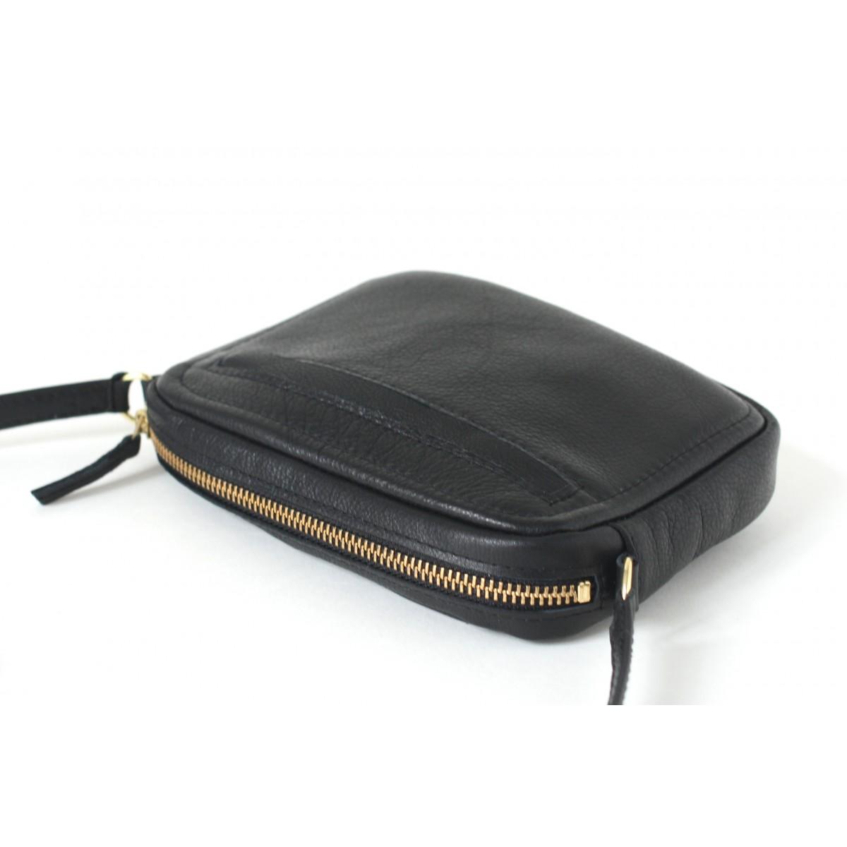 alexbender kleine schultertasche zip echt leder schwarz gold. Black Bedroom Furniture Sets. Home Design Ideas