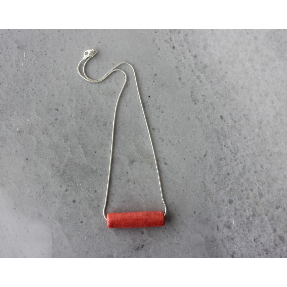 Skelini - Rot Porzellananhänger an einer Silberkette