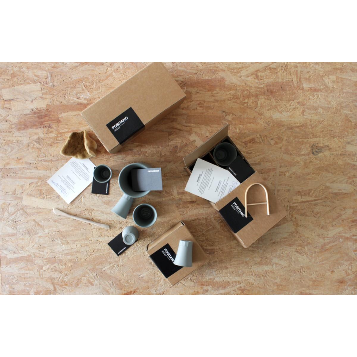 MONDOCUBO POSITANO Komplettes Set (1 Karaffe, 4 Wasser/Weinbecher + 4 espresso becher) Grau Porzellan