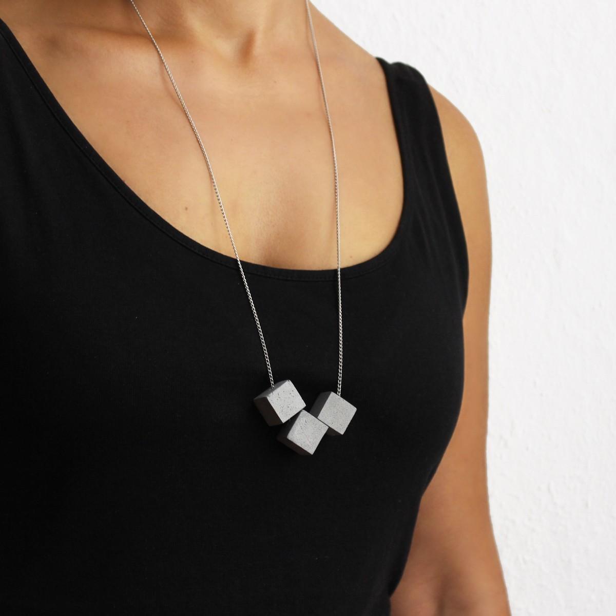 Beton Kette 3CB, Silber Gliederkette, Beton Schmuck, moderner und minimalisticher Zement Schmuck, Architekten Geschenk, ORTOGONALE