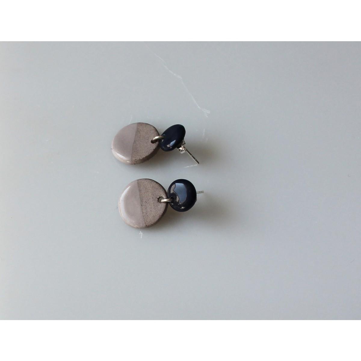 Skelini - dunkelblau und grau Porzellanohrringe