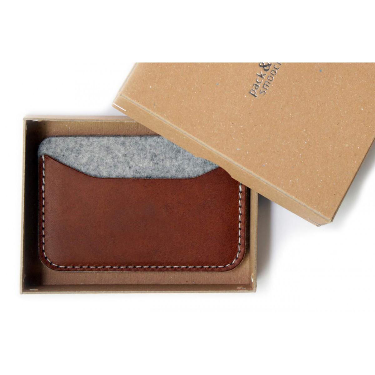Kartenetui, Portemonnaie KESWICK - Pflanzlich gegerbtes Leder, 100% Wollfilz