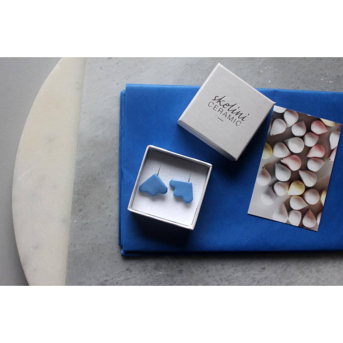 Skelini - Cobalt blau Porzellan Ohrstecker