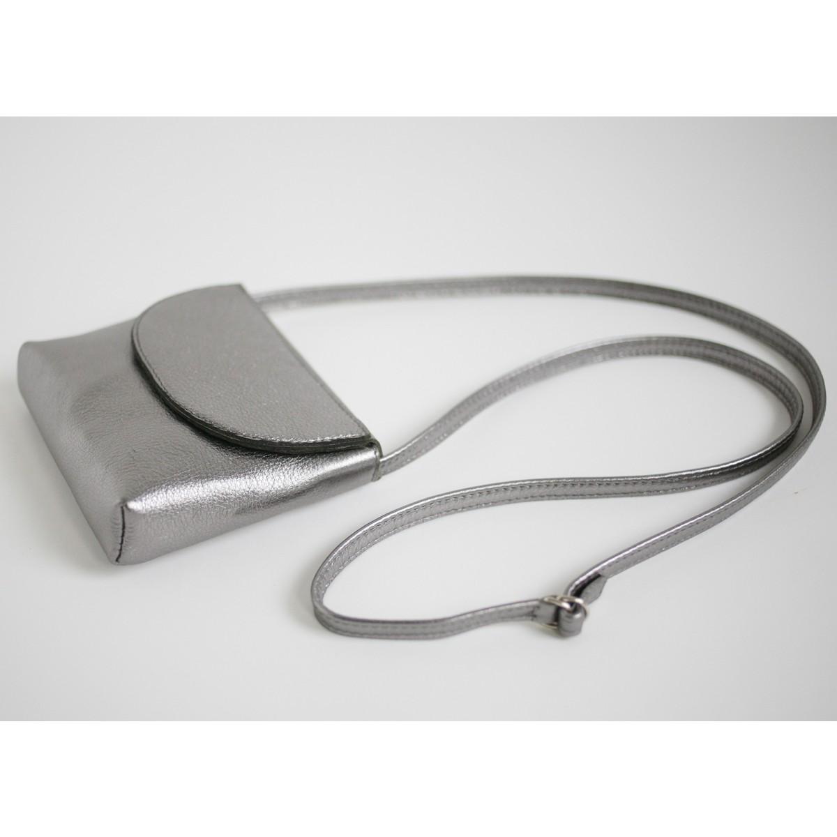 Partytasche echt Leder Metallic Anthrazit