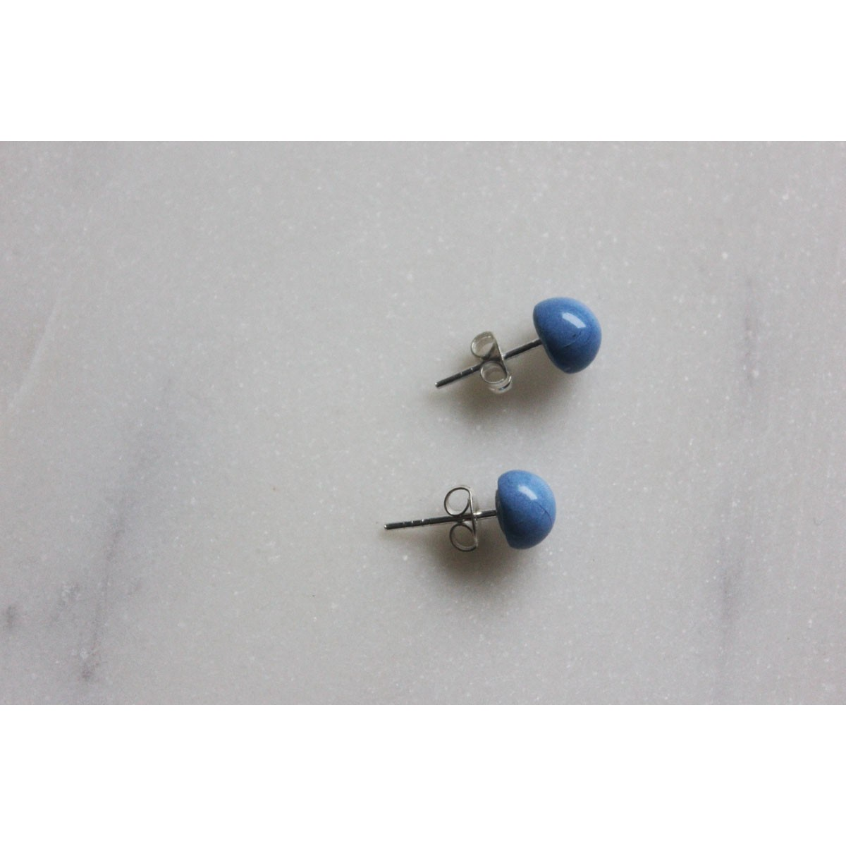 Skelini - Blaue Porzellan runde Ohrstecker, kobaltblau